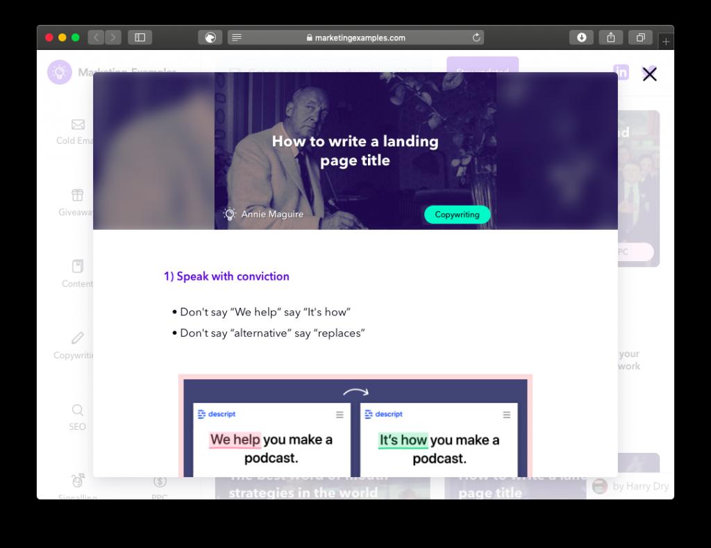 Screenshot av sidan marketing examples. Den ger dig nya case varje torsdag i ett nyhetsbrev och tipsar om hur andra skriver copy.